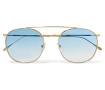 Mykonos Ii Sonnenbrille mit Eckigem Goldfarbenem Rahmen -