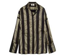 Duvall Gestreiftes Oversized-hemd Aus Satin - Armeegrün