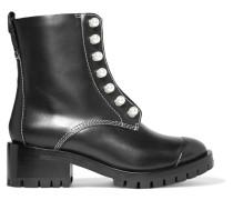 Lug Sole Zipper Verzierte Ankle Boots Aus Leder -