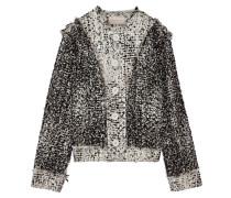 Jacke aus Bouclé-Tweed aus einer Wollmischung in Metallic-Optik mit Fransen