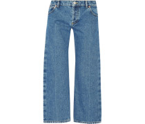Rockabilly Verkürzte Tief Sitzende Jeans Mit Weitem Bein - Heller Denim