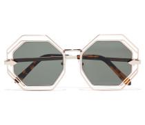 Emmanuel Goldfarbene Sonnenbrille Mit Rundem Rahmen