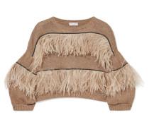 Verzierter Pullover aus einer Baumwoll-leinen-seidenmischung mit Federn -