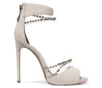 Sandalen Aus Pvc Und Veloursleder Mit Perlenverzierung - Elfenbein