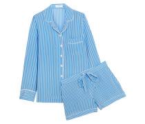 Liliane gestreifter Pyjama aus vorgewaschener Seide