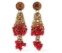 Vergoldete Ohrringen mit Perlen und Kristallen