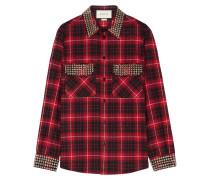 Kariertes Hemd aus Baumwollflanell mit Verzierungen