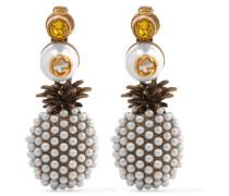 Vergoldete Ohrclips mit Kunstperlen und Kristall