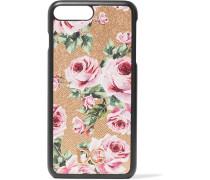 Iphone 7 Plus-hülle Aus Strukturiertem Leder Mit Blumendruck -