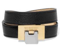 Le Dix Armband Aus Strukturiertem Leder Und Silber- Und Goldfarbenem Metall - Schwarz