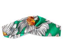 Bedrucktes Haarband Aus Seidensatin Mit Knotendetail -