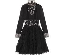 Gerüschtes Kleid Aus Seidenchiffon Mit Besätzen Aus Guipure-spitze - Schwarz