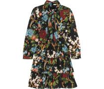 Breann Gestuftes Kleid aus Glänzendem Crêpe mit Blumenprint -