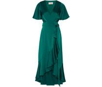 Wickelkleid Aus Duchesse-satin Mit Offener Rückenpartie - Smaragdgrün