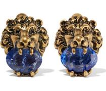 Goldfarbene Ohrclips mit Swarovski-Kristallen