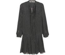 Kleid aus einer Seidenmischung mit Flockdruck und Biesen
