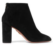 Downtown Ankle Boots Aus Veloursleder - Schwarz