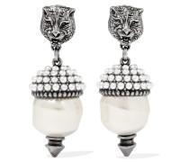 Silberfarbene Ohrringe Mit Kunstperlen -