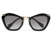 Sonnenbrille Mit Cat-eye-rahmen Aus Azetat In Krokodiloptik Mit Goldfarbenen Details - Schwarz