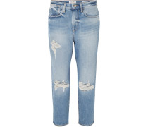 Le Stevie Crop Boyfriend-jeans in Distressed-optik