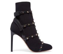 The Rockstud Sock Boots Aus Stretch-strick Mit Lederbesatz -
