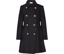Doppelreihiger Mantel Aus Einer Wollmischung Mit Wellenkante - Mitternachtsblau