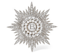 Palladiumfarbene Brosche Mit Cubic Zirkonia-steinen Und Swarovski-perlen - Silber