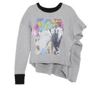Bedrucktes Sweatshirt Aus Jersey Aus Einer Woll- Und Baumwollmischung Mit Rüschen - Grau