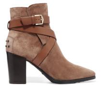 Ankle Boots Aus Veloursleder Mit Lederdetails - Braun