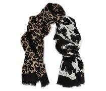 Schal Aus Voile Mit Leopardenprint - Schwarz