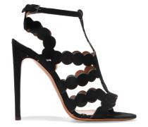 Sandalen Aus Lasergeschnittenem Veloursleder - Schwarz