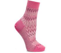 Socken Aus Strick In Häkeloptik Aus Einer Metallic-baumwollmischung - Pink