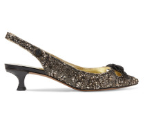 Abbey Slingback-pumps Aus Brokat Mit Glitter-finish Und Kristallen -