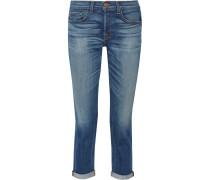 9022 Georgina Halbhohe Boyfriend-jeans Mit Schmaler Passform - Mittelblauer Denim