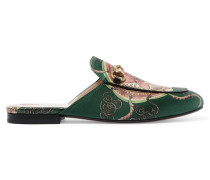Princetown Slippers Aus Bedrucktem Satin Mit Horsebit-detail - Grün