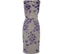 Jacquard-kleid Aus Einer Baumwollmischung Mit Blumenapplikationen - Lila