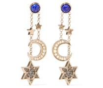 Goldfarbene Ohrringe Mit Kristallen Und Emaille -