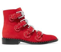 Nietenbesetzte Ankle Boots Aus Veloursleder -