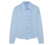 Hemd Aus Popeline Aus Einer Baumwollmischung Mit Rüschen - Himmelblau