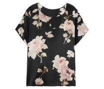 La Donna Del Fioraio Pyjama-oberteil Aus Seidensatin Mit Blumenprint -