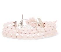 Silberfarbenes Armband mit Rosenquarzen und Troddeln -