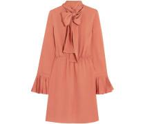 Kleid Aus Seiden-georgette Mit Schluppe - Korall