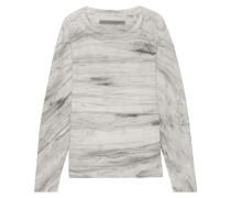 Sweatshirt Aus Baumwollfrottee Mit Batikmuster - Grau