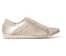 Cristina Sneakers Aus Ausgefranstem Satin Mit Velourslederbesatz -