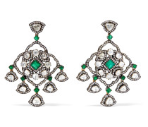 Ohrringe aus 18 Karat Gold mit Diamanten und Smaragden -