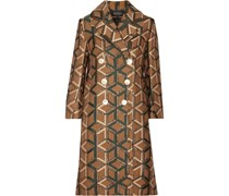 Doppelreihiger Mantel aus Metallic-Jacquard