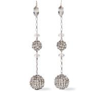 Silberfarbene Ohrringe mit Kristallen