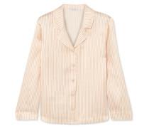 Crema Gestreiftes Pyjama-oberteil aus Seiden-seersucker -