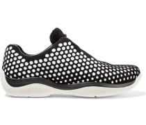 Sneakers aus perforiertem Veloursleder und Neopren