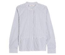 Lakeside gestreiftes Hemd aus Baumwollpopeline mit Schößchen